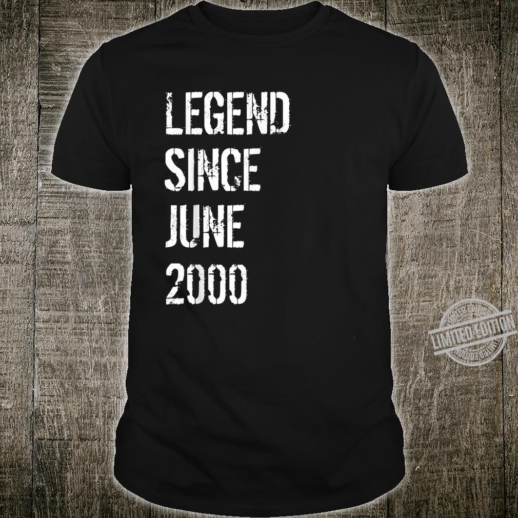 20. Geburtstag Männer Frauen Geboren im Juni 2000 Shirt