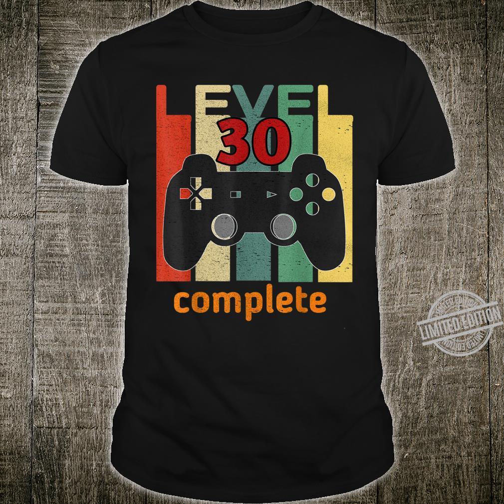 30. Geburtstag Mann Frau 1990 Level 30 Jahre Party Geschenk Shirt