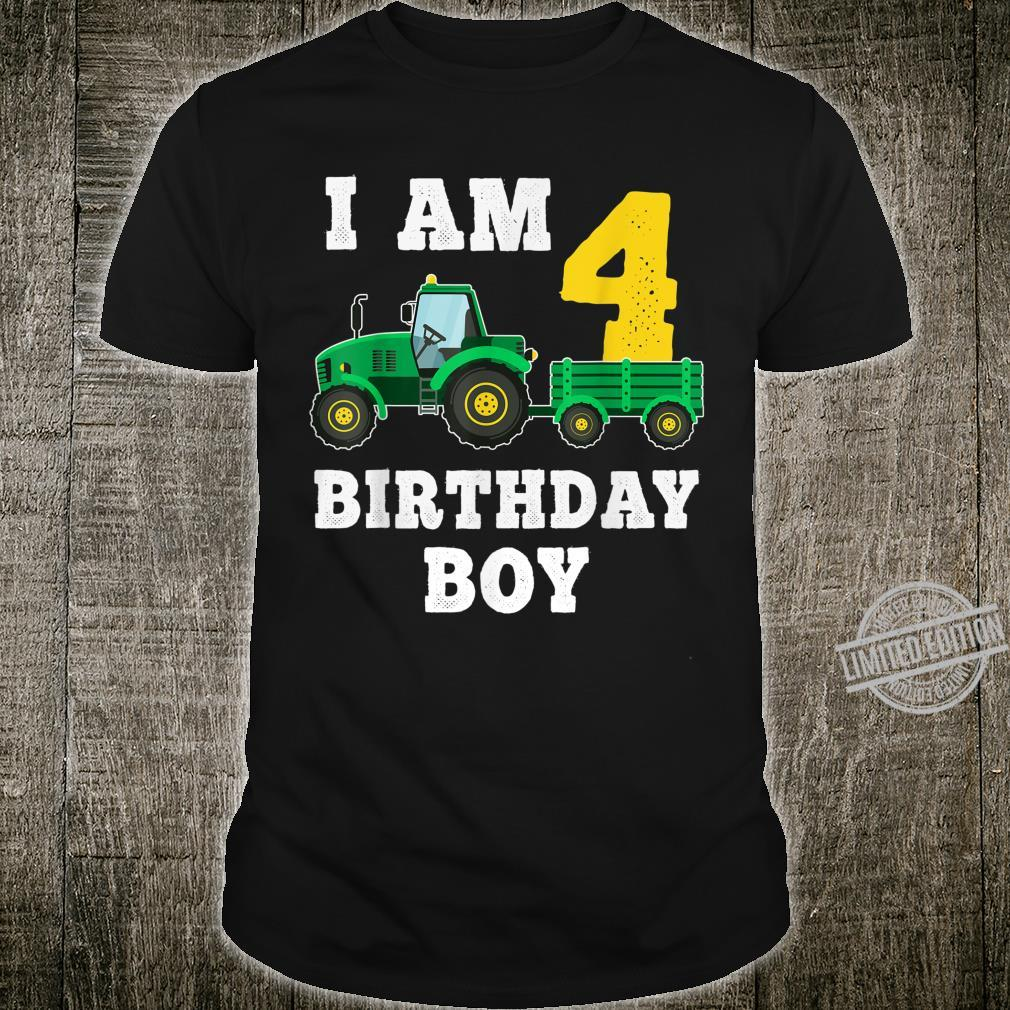 4th Birthday Tractor Shirt For 4 Years Old Farming Shirt