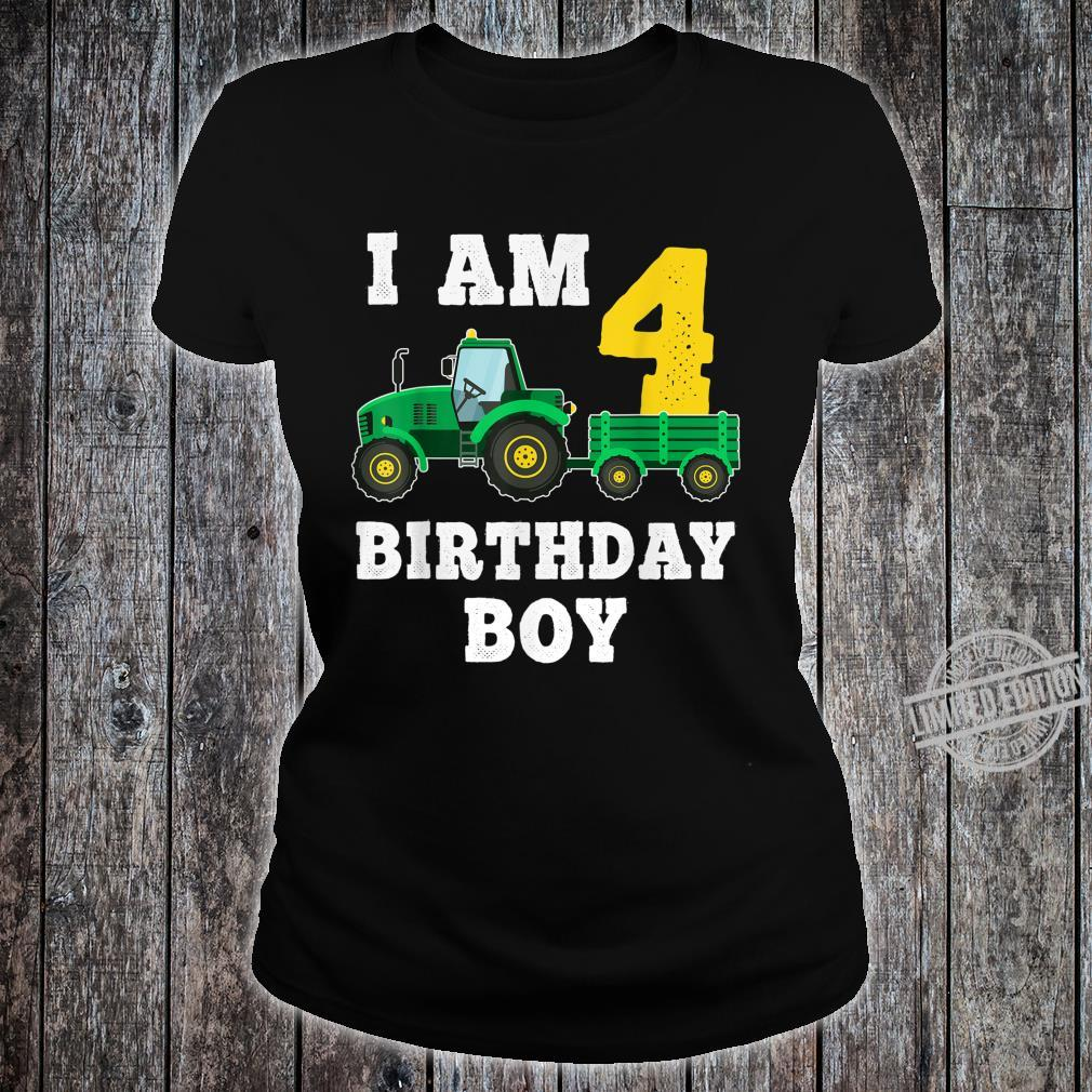 4th Birthday Tractor Shirt For 4 Years Old Farming Shirt ladies tee