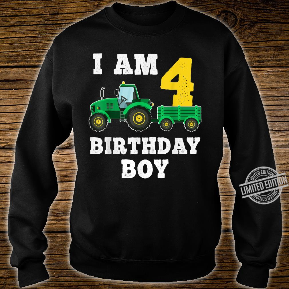 4th Birthday Tractor Shirt For 4 Years Old Farming Shirt sweater