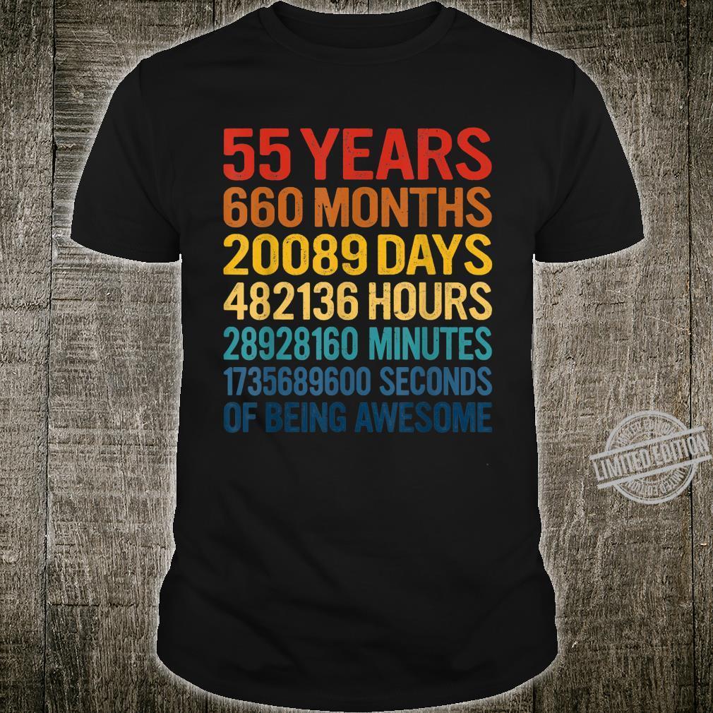 55 Yrs Old 660 Months 55th Birthday Vintage Retro Shirt