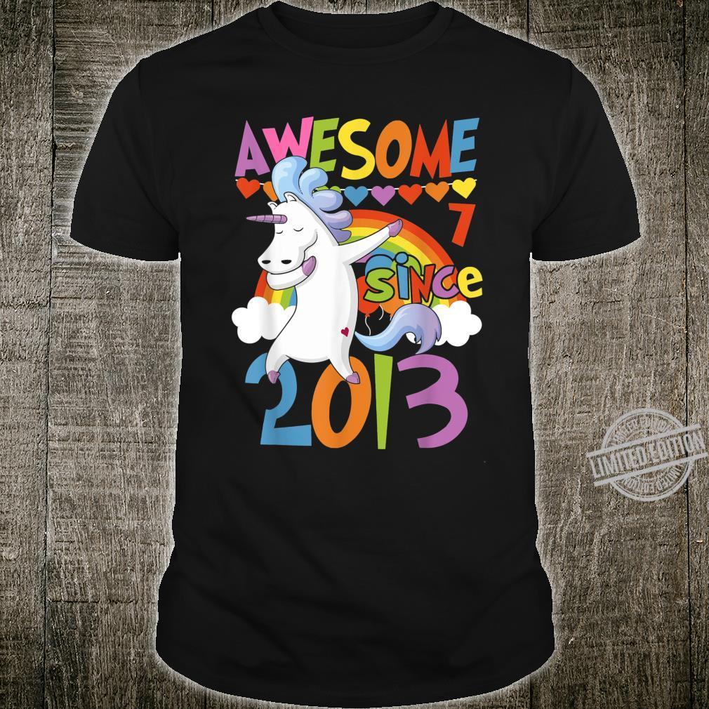 7 Years Old Dabbing Unicorn 7th Birthday Party Girl Shirt