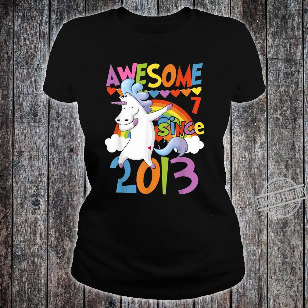 7 Years Old Dabbing Unicorn 7th Birthday Party Girl Shirt ladies tee