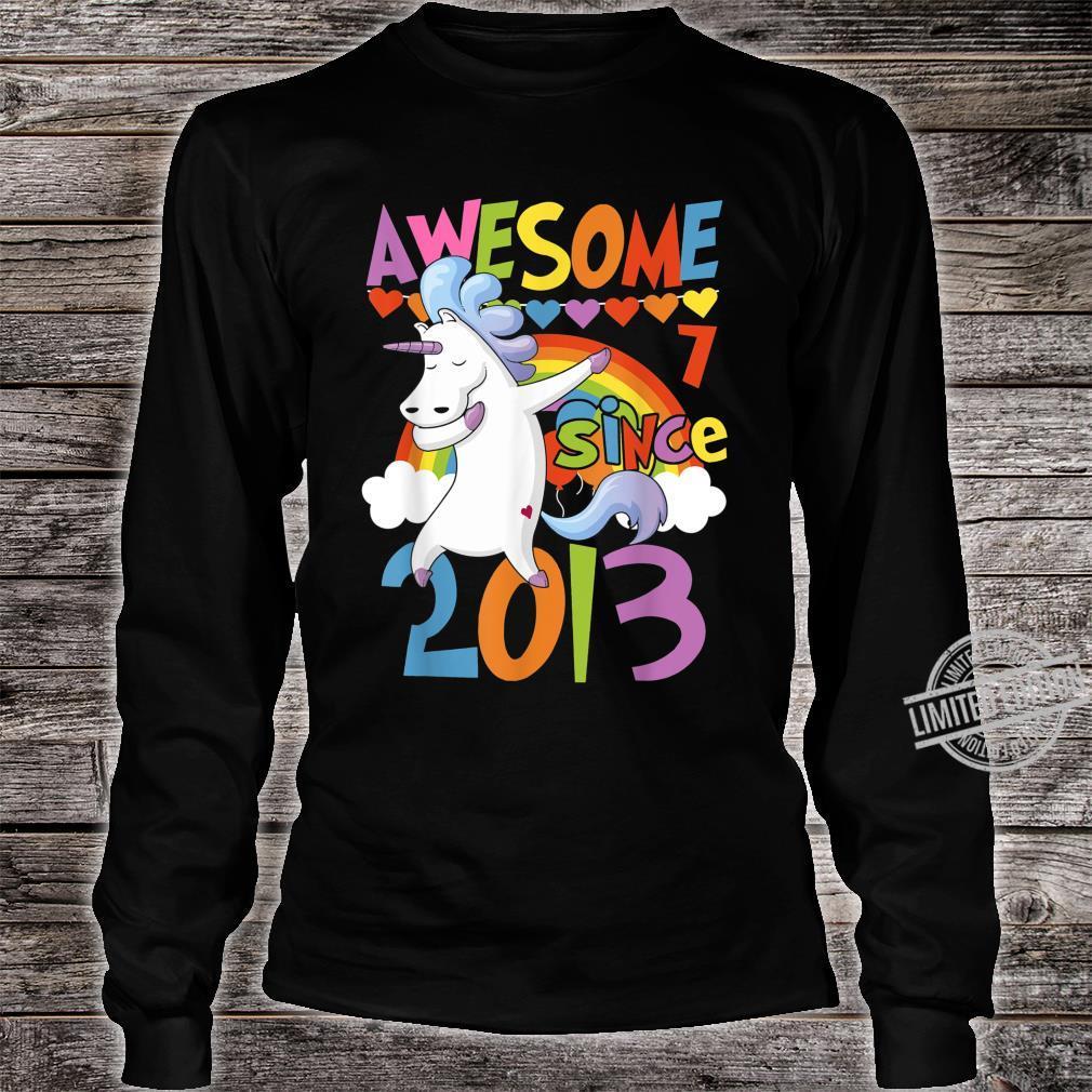7 Years Old Dabbing Unicorn 7th Birthday Party Girl Shirt long sleeved