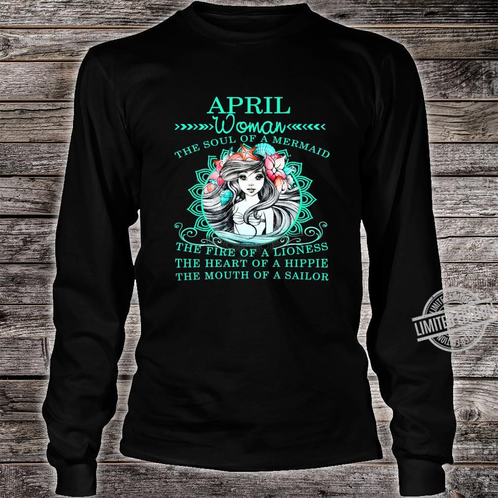 April The Soul Of A Mermaid Birthday Shirt long sleeved