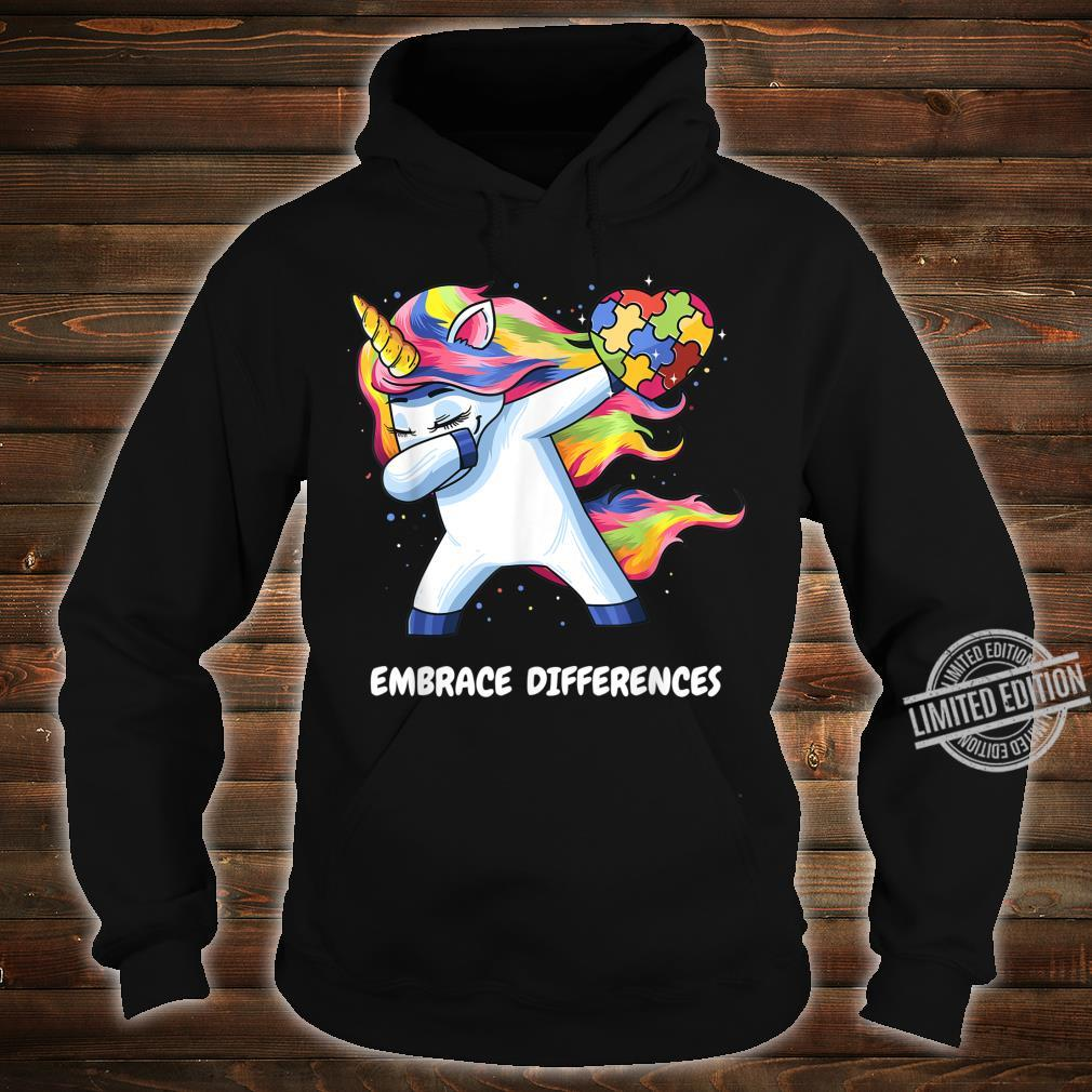Autism Unicorn Dabbing Embrace Differences Heart Shirt hoodie