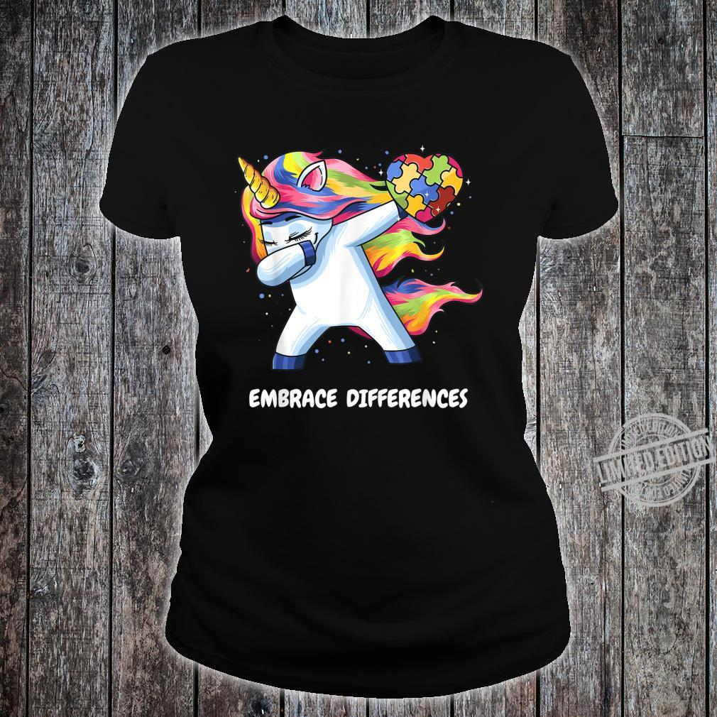 Autism Unicorn Dabbing Embrace Differences Heart Shirt ladies tee