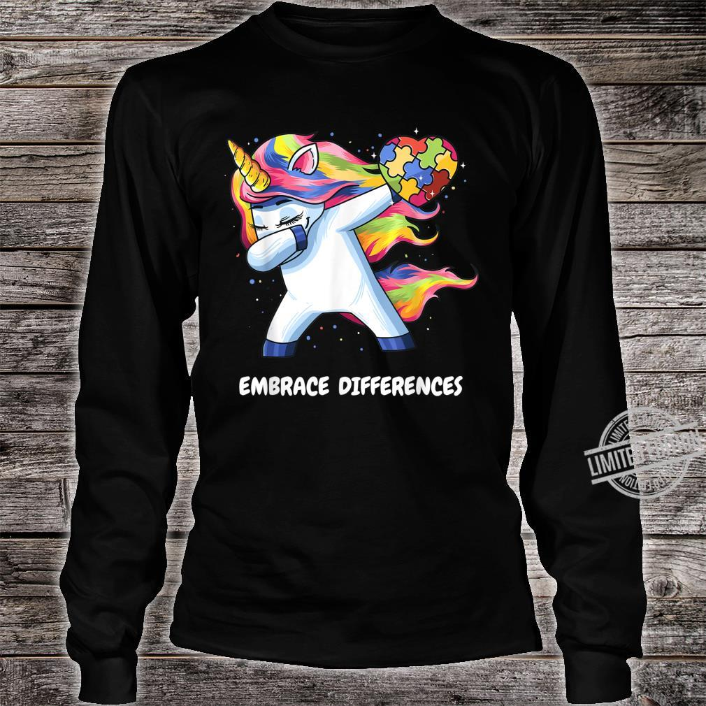 Autism Unicorn Dabbing Embrace Differences Heart Shirt long sleeved