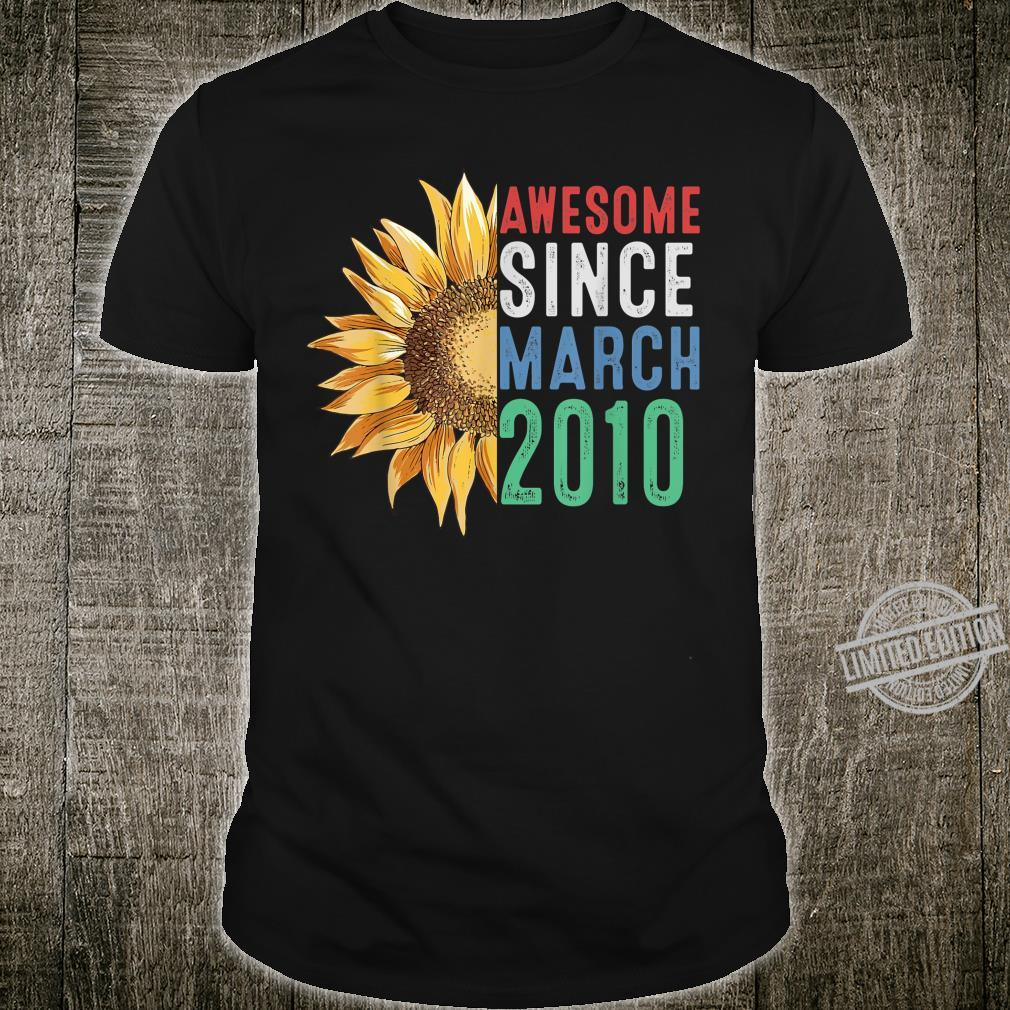 Awesome March 2010 Flower 10 Years Old Birthday Shirt