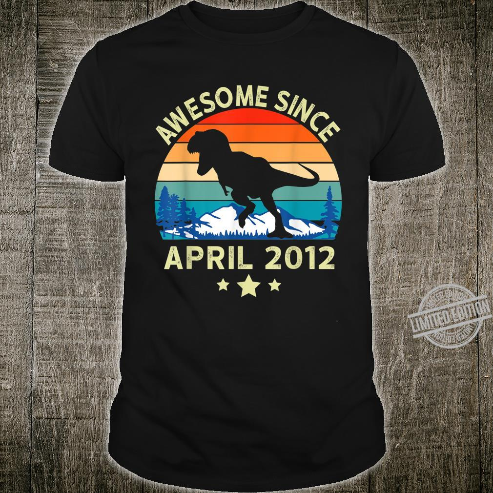 Awesome Since April 2012 8 Years Old Dinosaur Birthday Shirt