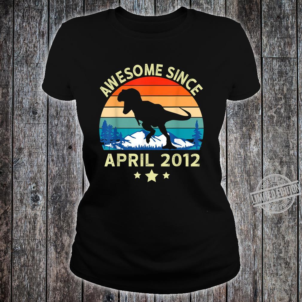 Awesome Since April 2012 8 Years Old Dinosaur Birthday Shirt ladies tee