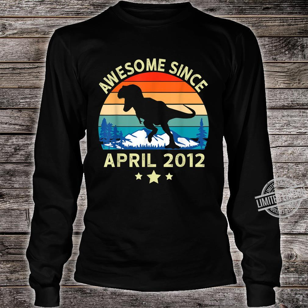Awesome Since April 2012 8 Years Old Dinosaur Birthday Shirt long sleeved