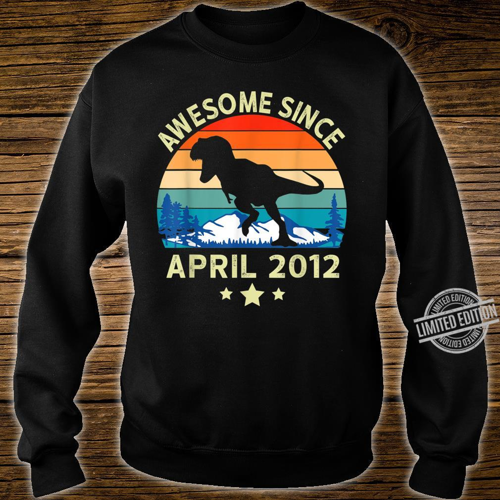 Awesome Since April 2012 8 Years Old Dinosaur Birthday Shirt sweater