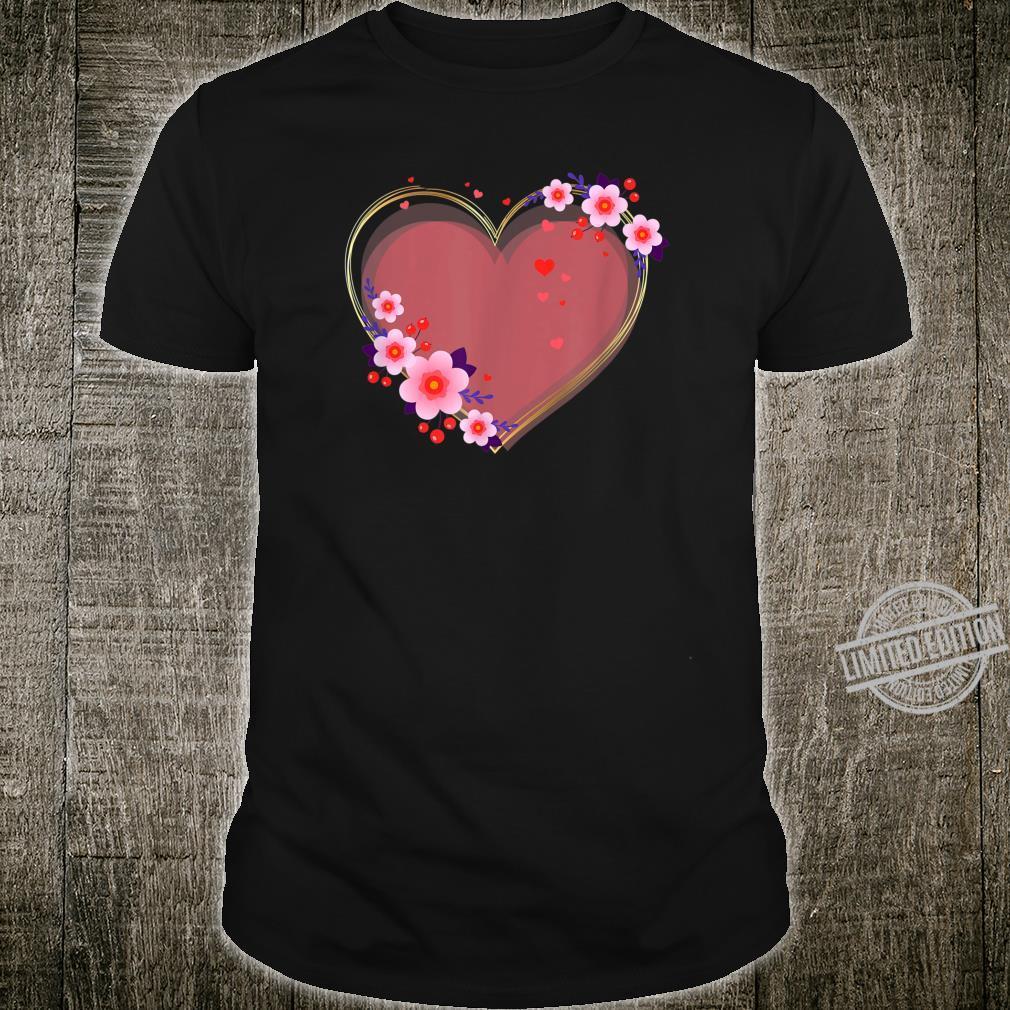 Cute Heart Love Flower Valentine's Illustration Shirt