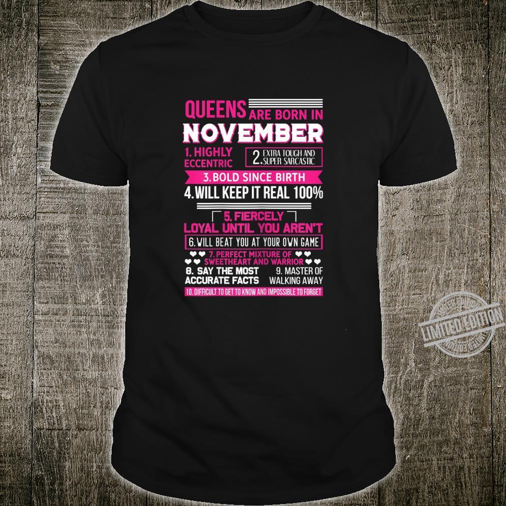 Damen Queens are Born In November Geburtstag November Geschenk Shirt