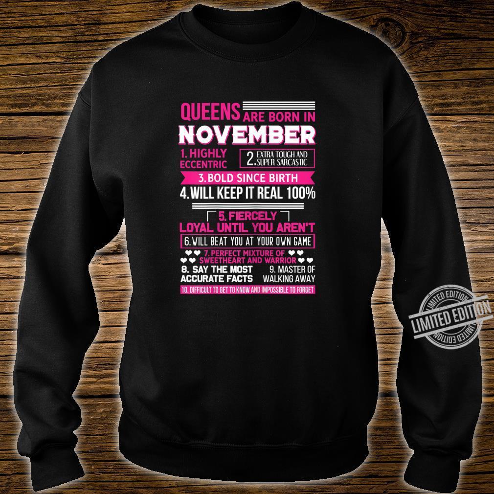 Damen Queens are Born In November Geburtstag November Geschenk Shirt sweater