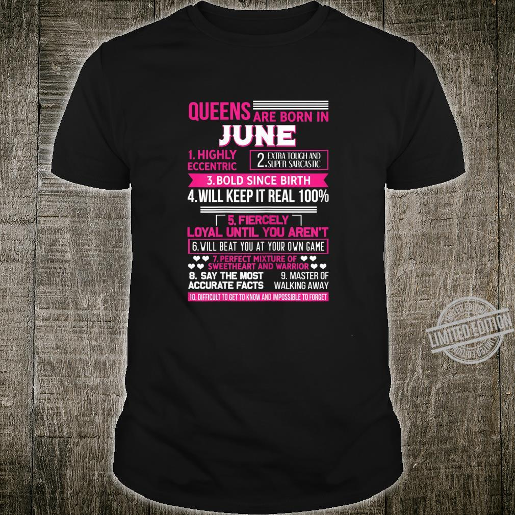 Damen Queens are born in June Geburtstag Königin Geschenk Juni Shirt