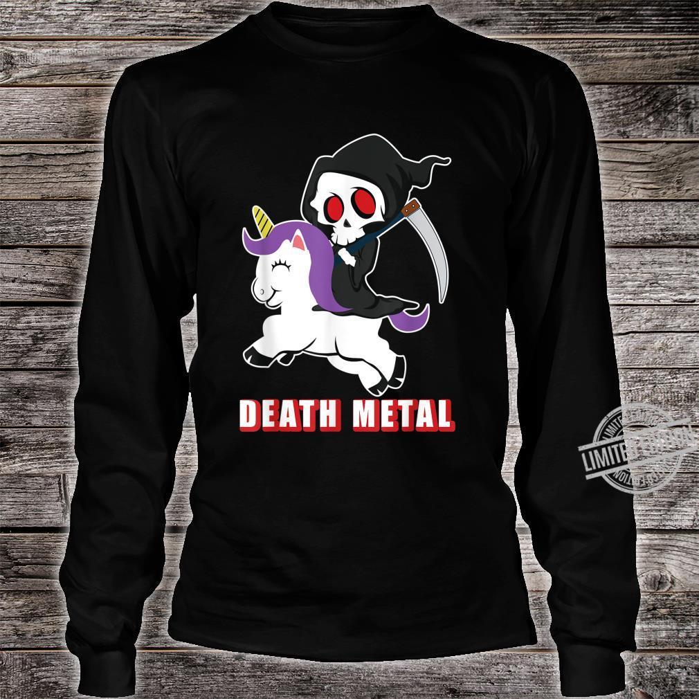 Death Metal Unicorn Reaper And Unicorn Fan Shirt long sleeved