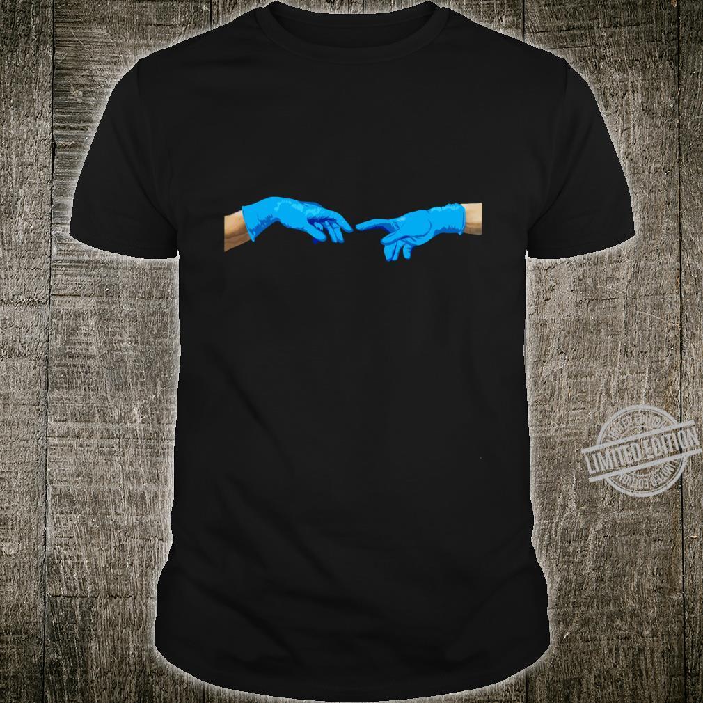 Die Erschaffung Adams 2020 in Zeiten der Hygiene Handschuhe Shirt