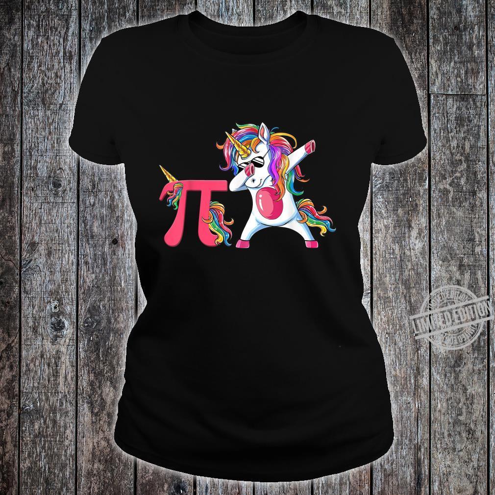 Happy Pi Day Unicorn Dabbing Math Teacher Student Shirt ladies tee