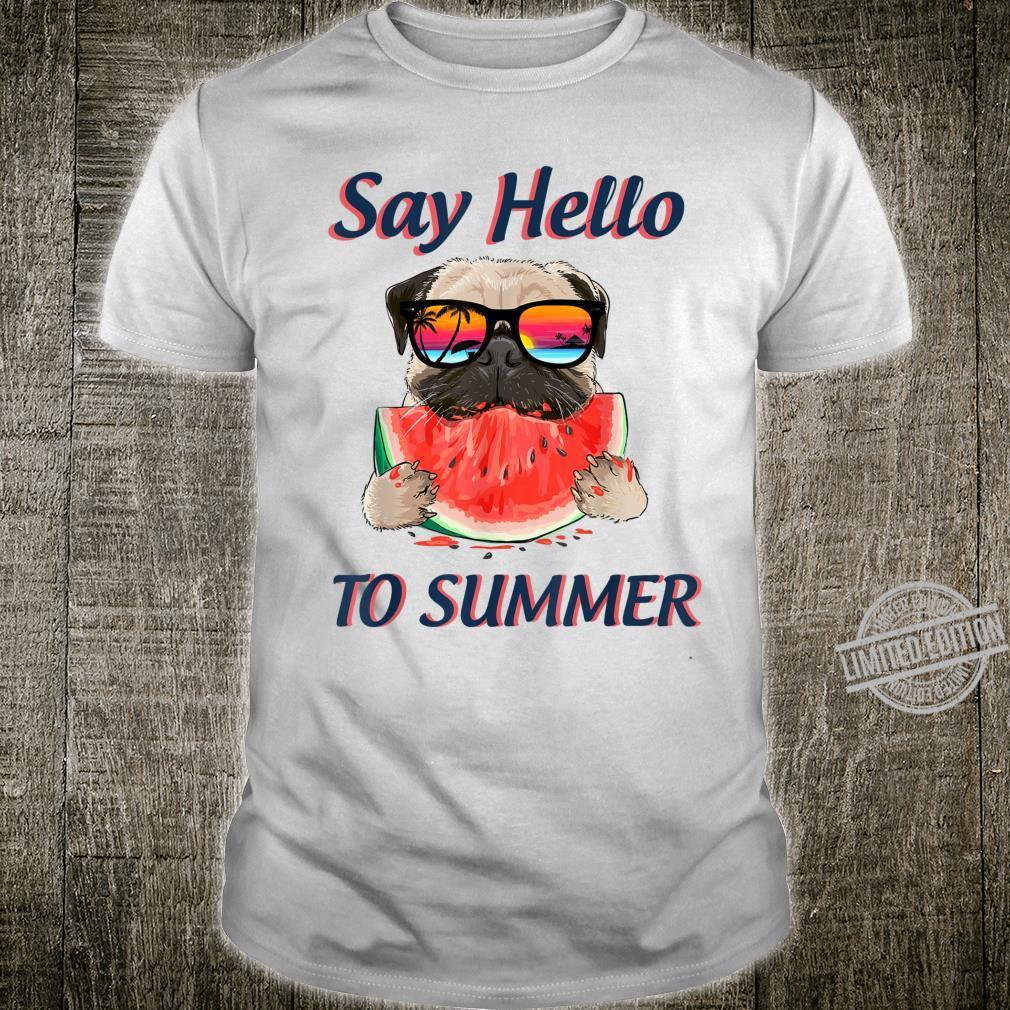 Hello Summer Pug Dog Watermelon Cute for Famyli Shirt