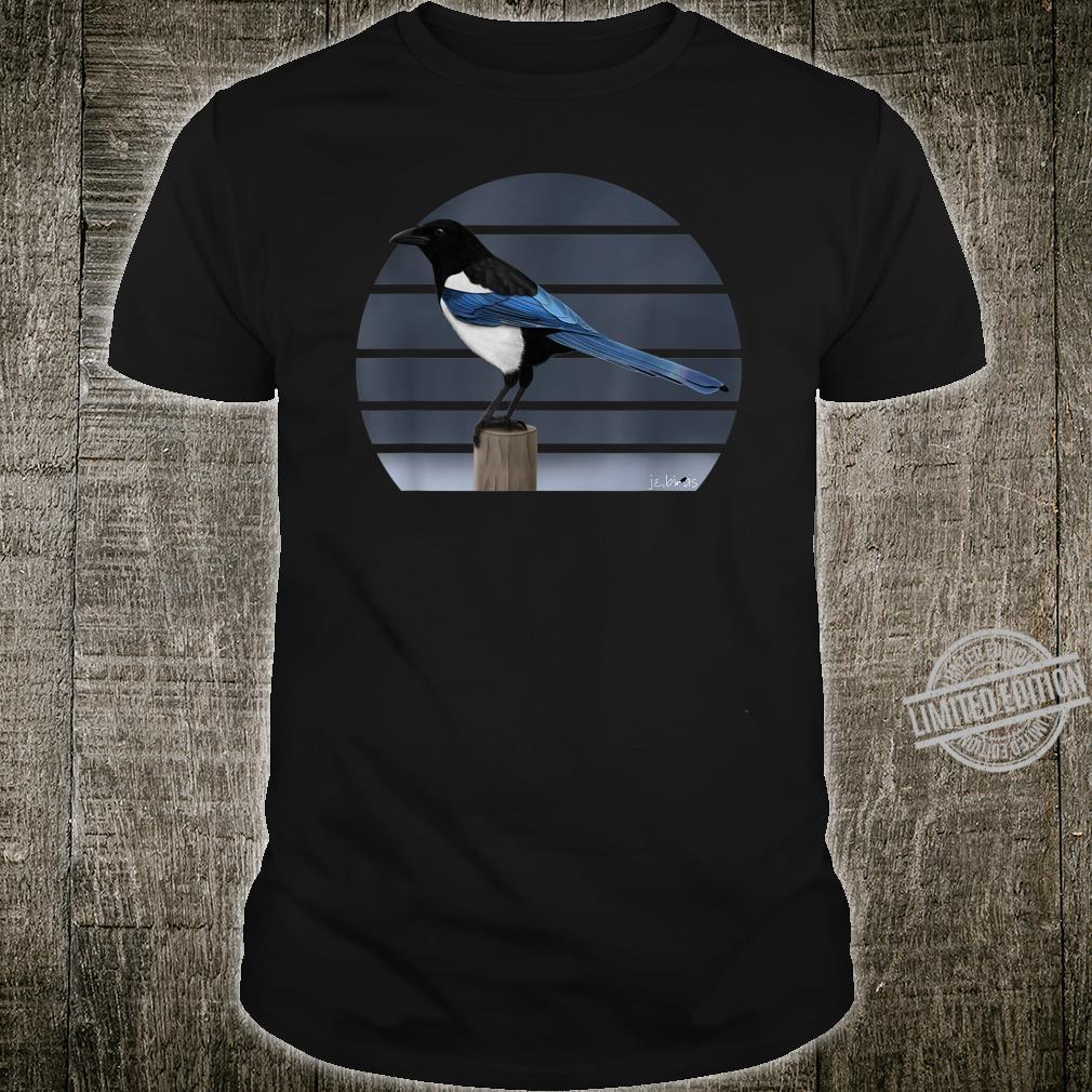 Magpie Drawing Bird Watching Animal Illustration Shirt