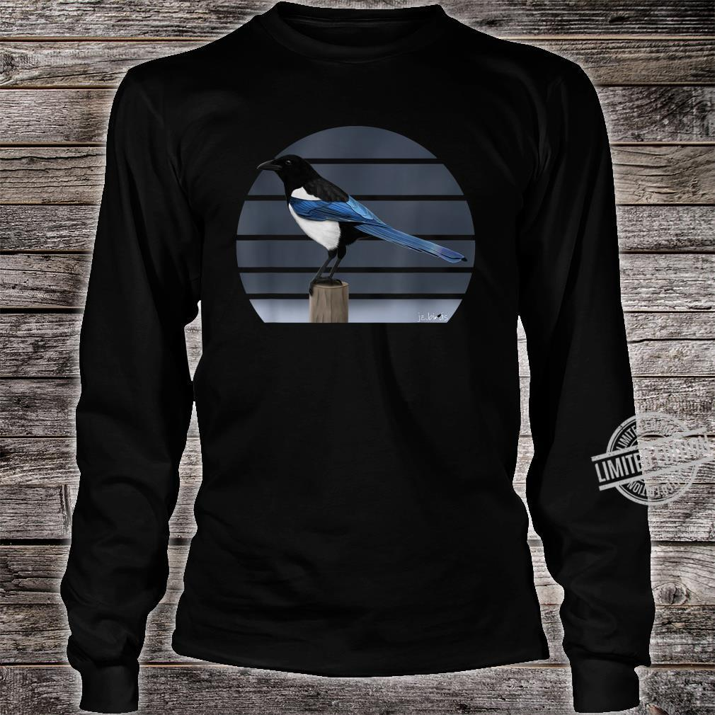 Magpie Drawing Bird Watching Animal Illustration Shirt long sleeved