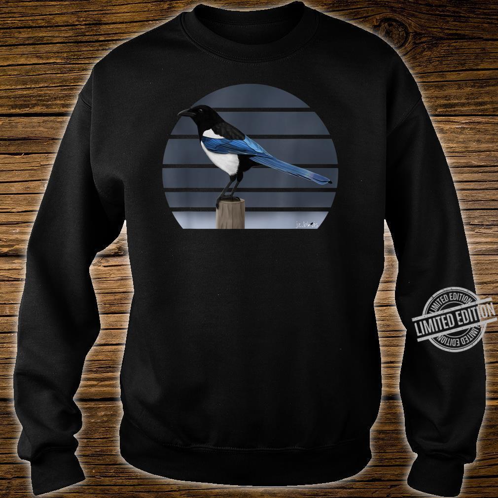 Magpie Drawing Bird Watching Animal Illustration Shirt sweater