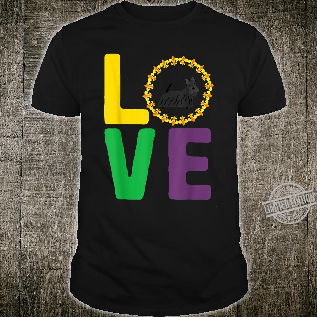 Mardi Gras Scottish Terrier Dog Mom Dad Love Fleur de Lis Shirt