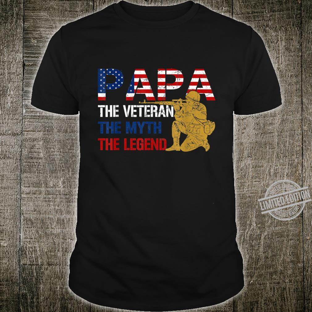 Mens Father's Day Distressed Papa Veteran Myth Legend Shirt