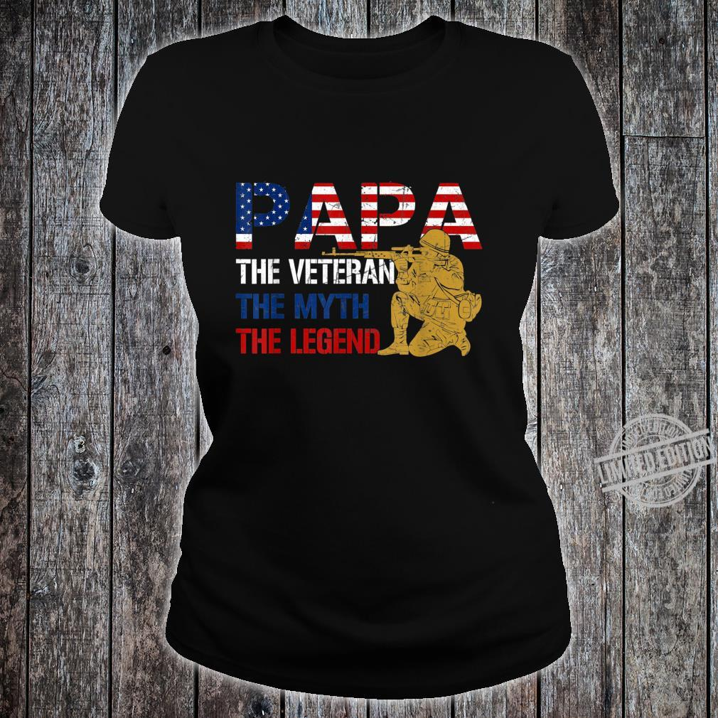Mens Father's Day Distressed Papa Veteran Myth Legend Shirt ladies tee