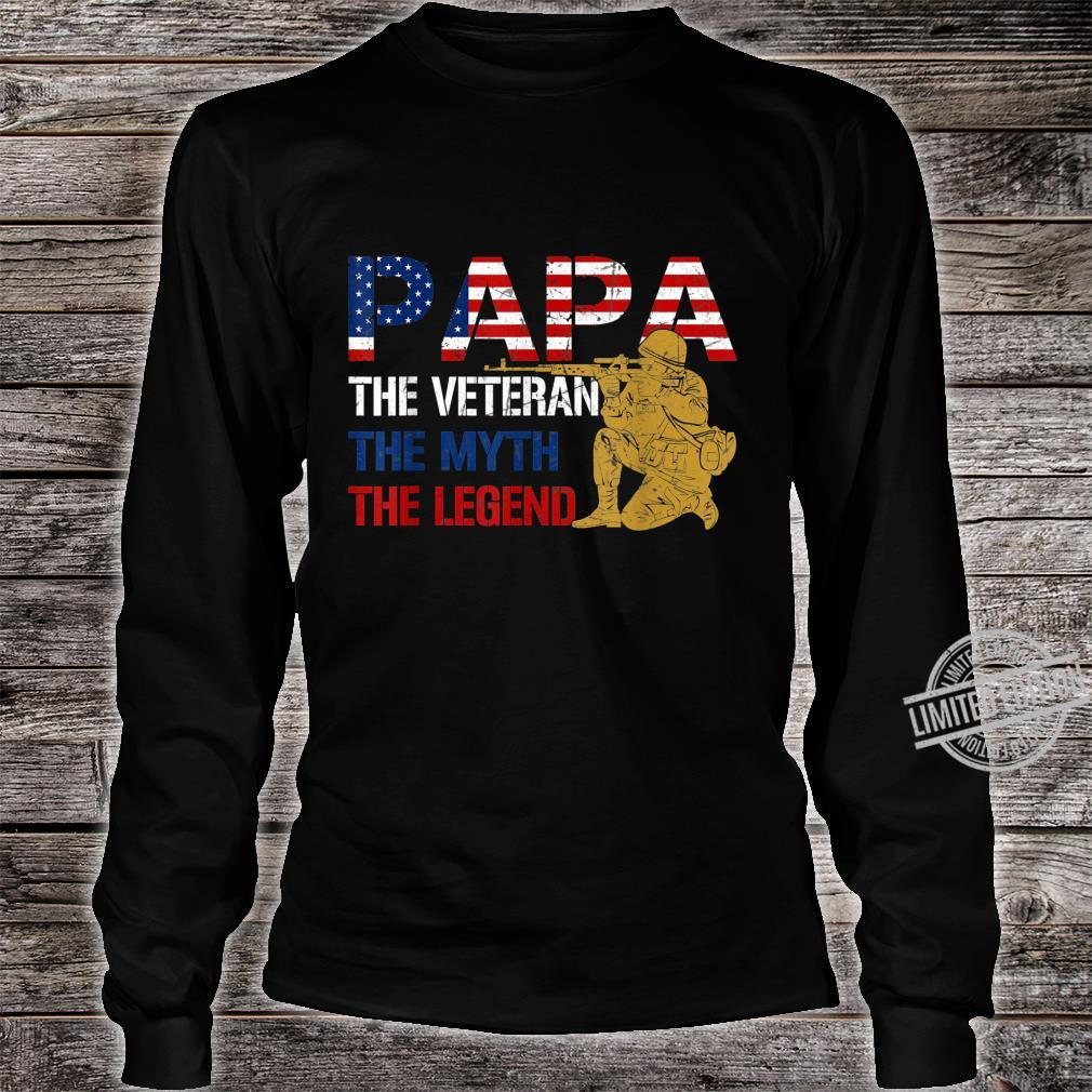 Mens Father's Day Distressed Papa Veteran Myth Legend Shirt long sleeved