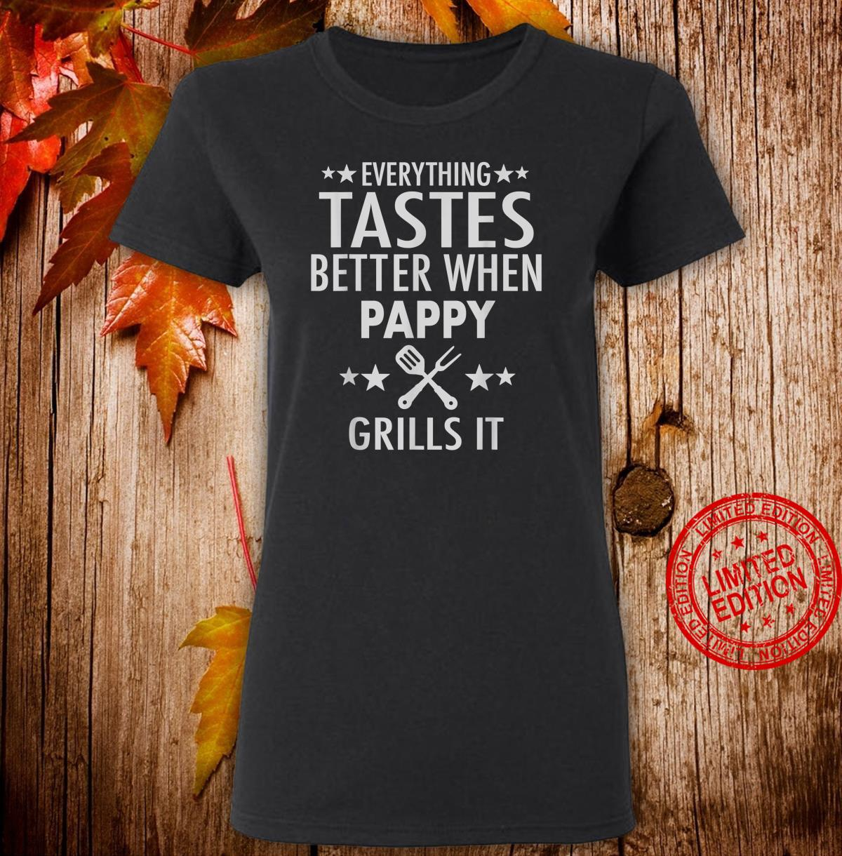 Mens Pappy Grills It Pappy Barbecue Shirt ladies tee