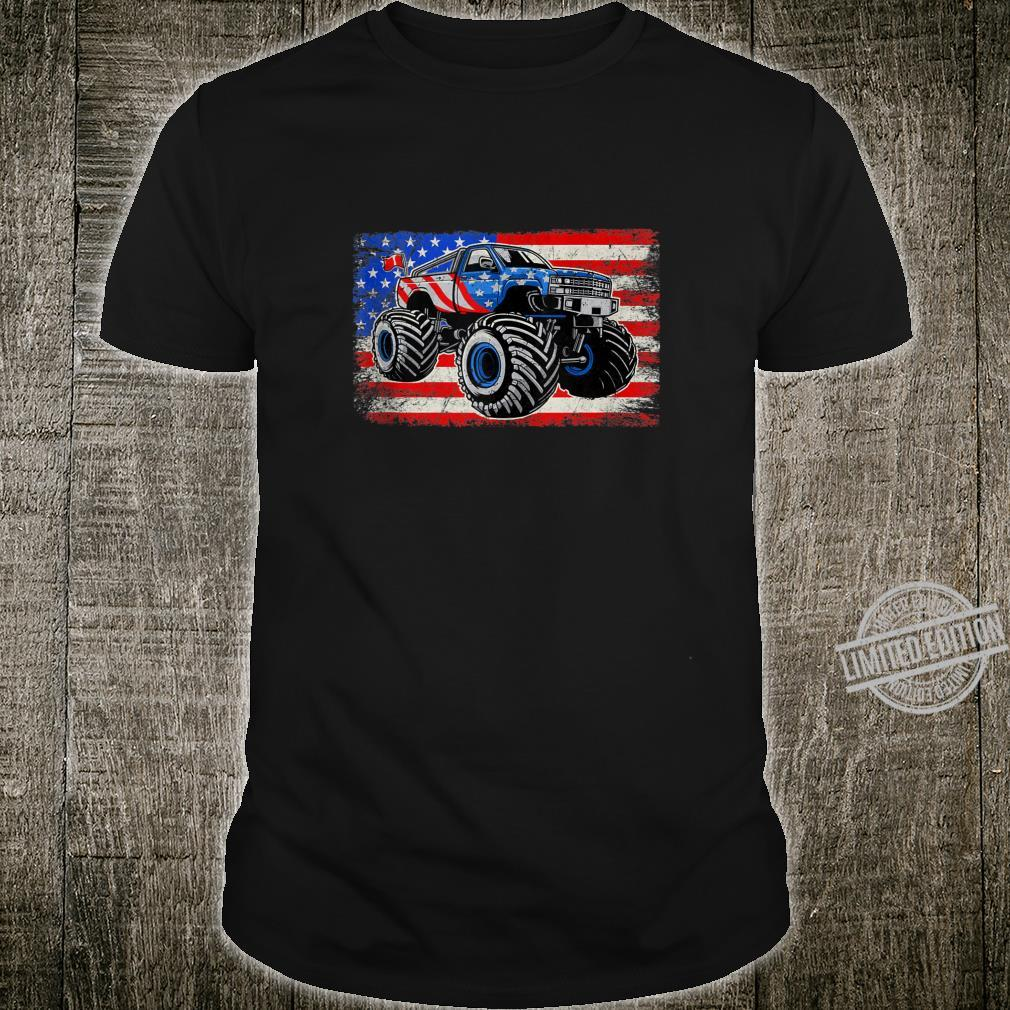 Monster Truck American Flag Vintage Retro Style Shirt
