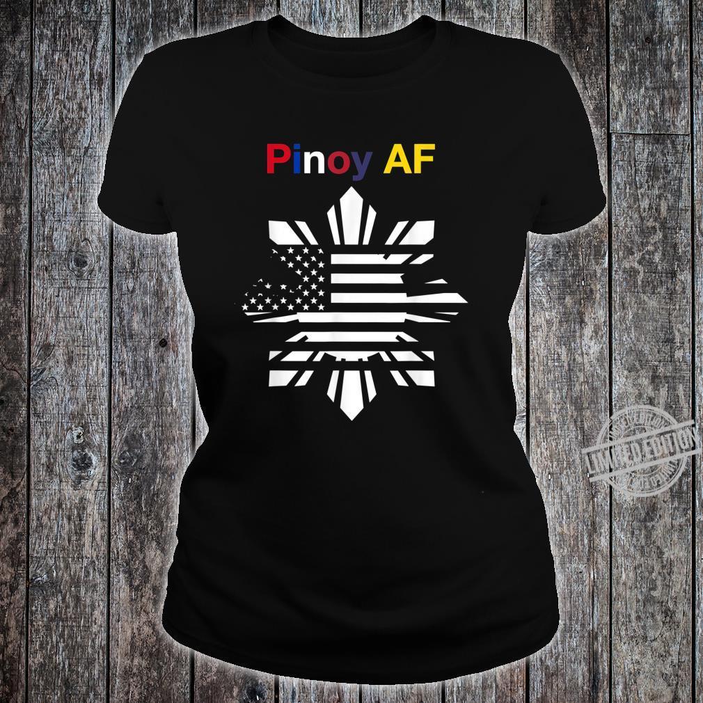 Pinoy AF FilipinoAmerican Sun, Stars & Stripes Flag Shirt ladies tee