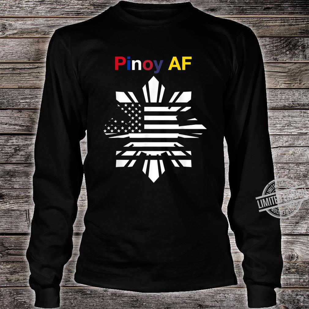Pinoy AF FilipinoAmerican Sun, Stars & Stripes Flag Shirt long sleeved