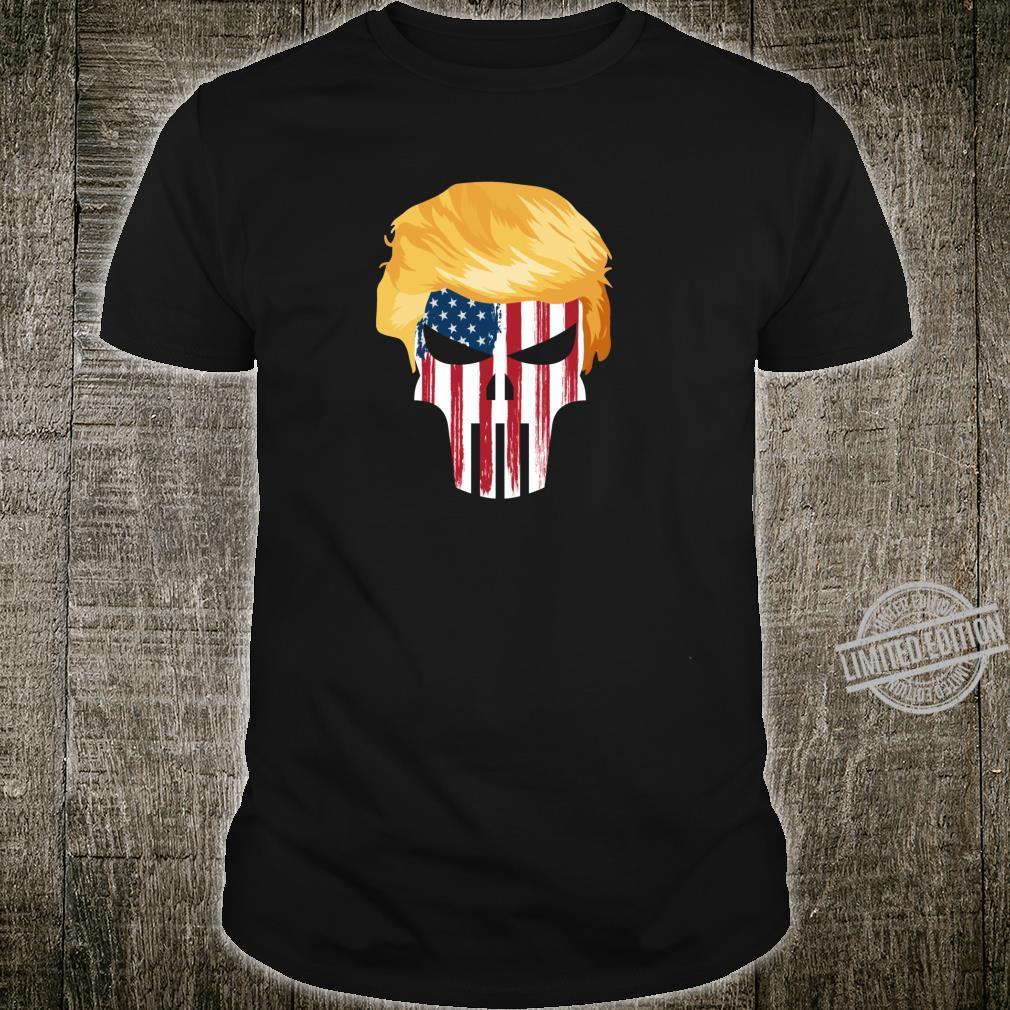 President Trump Hair 2020 American Flag Skull Shirt