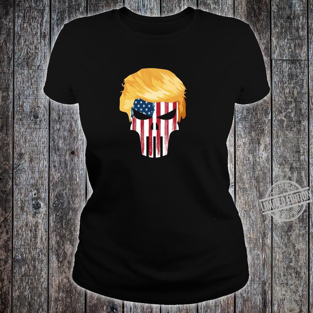 President Trump Hair 2020 American Flag Skull Shirt ladies tee