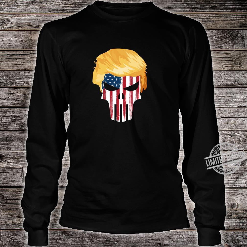 President Trump Hair 2020 American Flag Skull Shirt long sleeved