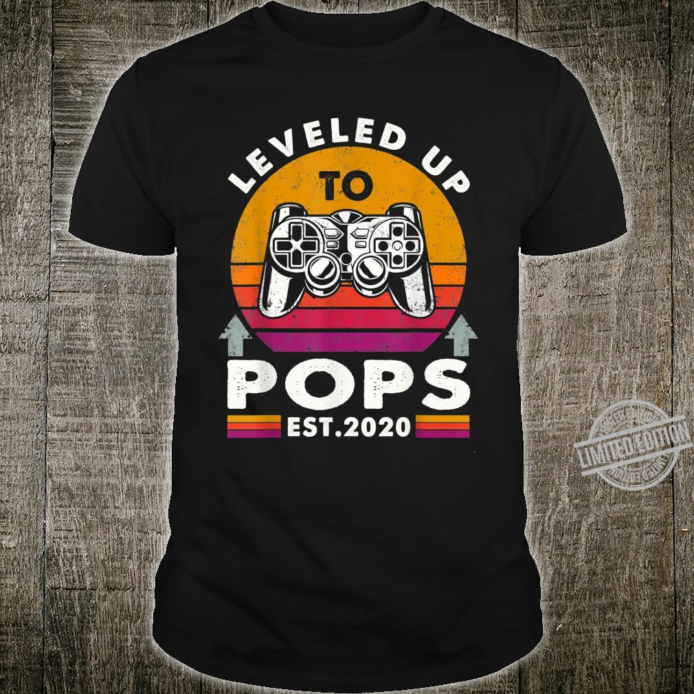 Promoted Leveled Up To Pops Est 2020 Video Gamer Fathers Day Shirt