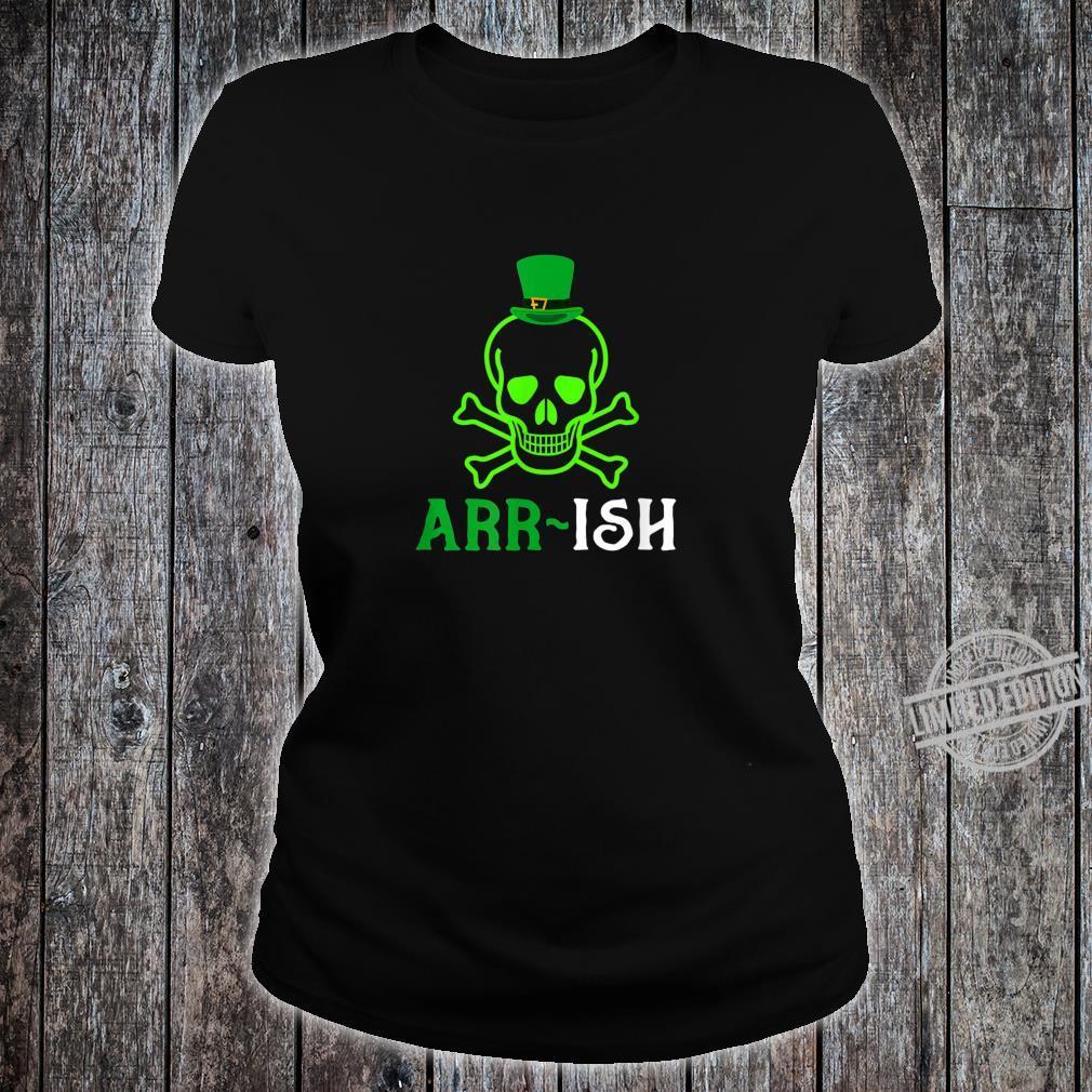Skull Irish Pirate Saint Patrick Day Shirt ladies tee