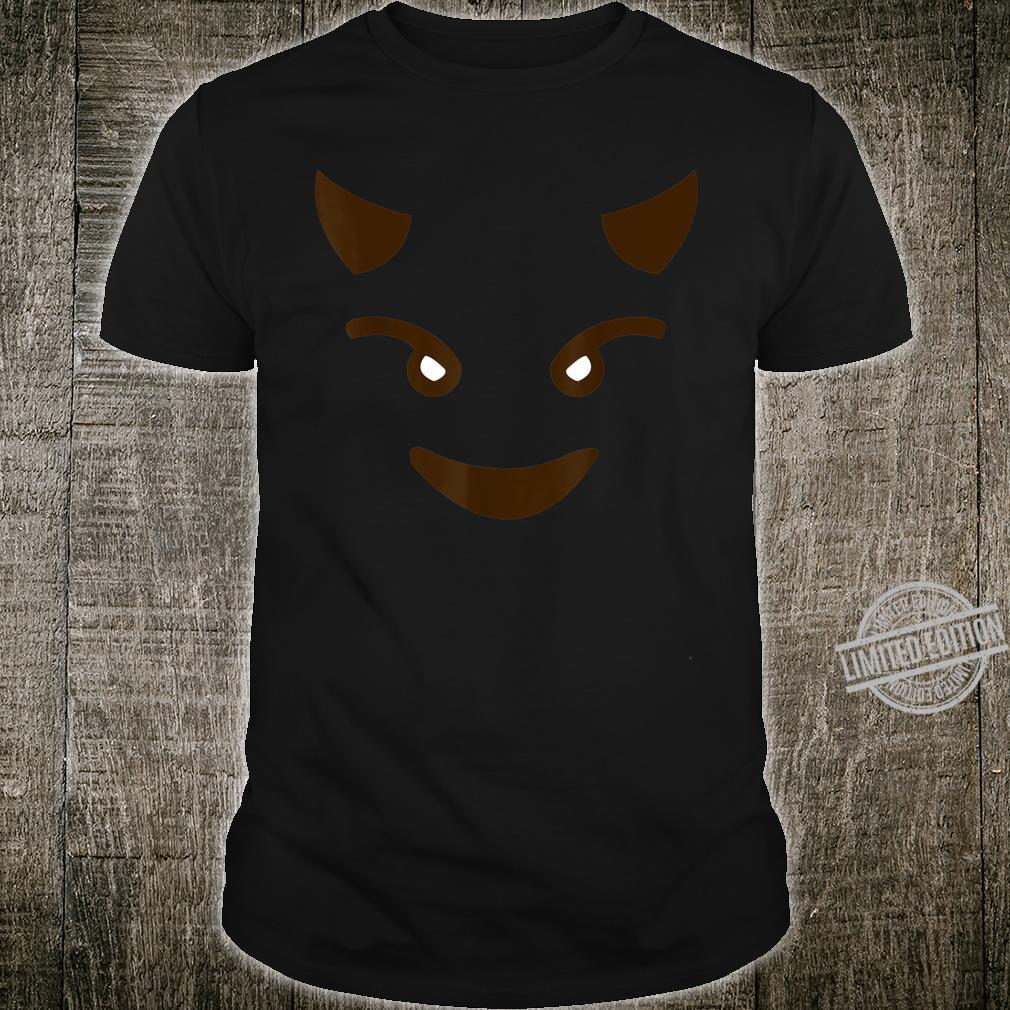 Smiling Devil Horn Face Emoticon Costume Easy Halloween Shirt