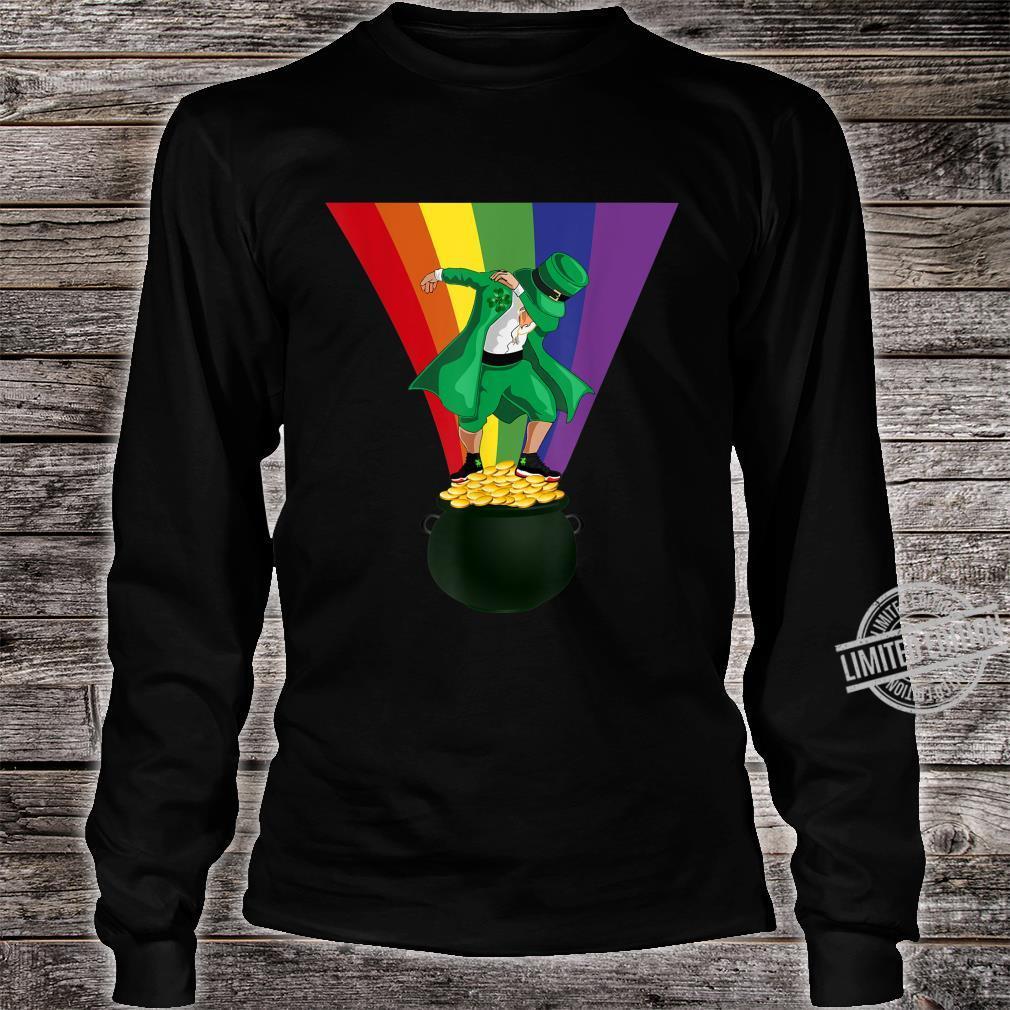 St. Patrick's Day Dabbing Leprechaun Pot of Gold and Rainbow Shirt long sleeved