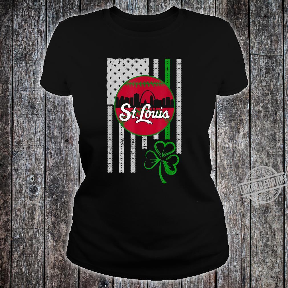 St.Louis Baseball St Patricks Day Downtown Skyline Shamrock Shirt ladies tee