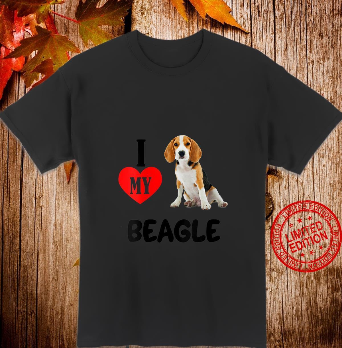 Womens I Love My Beagle Dog Pet Animal Hound Shirt