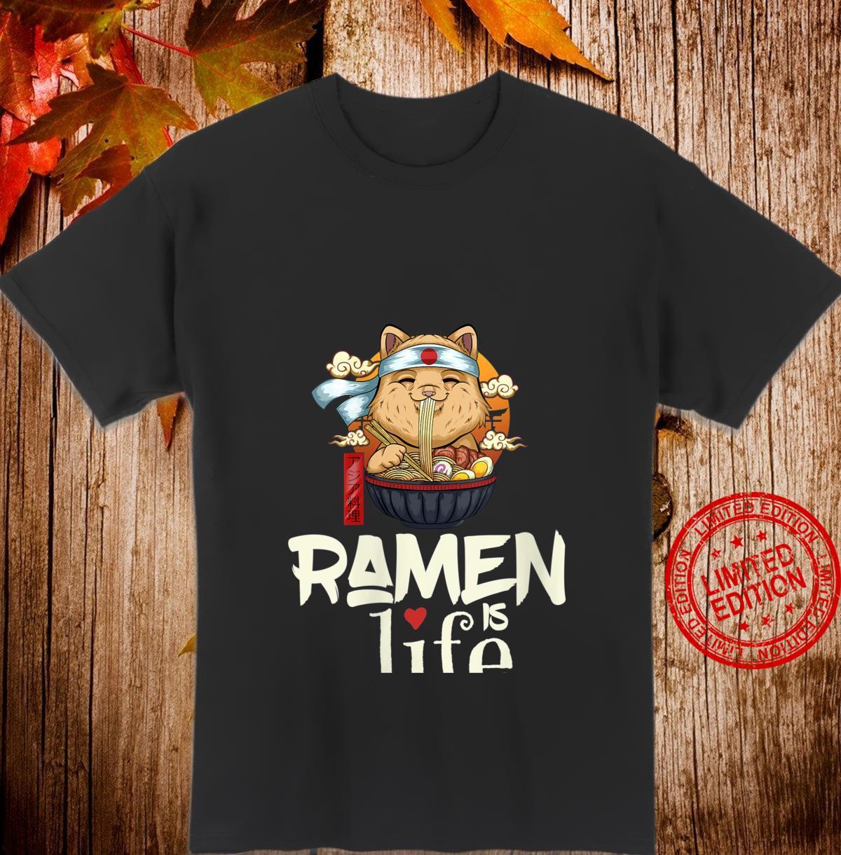 Womens Ramen is Life Ramen Saying Cute Cat Girls Shirt