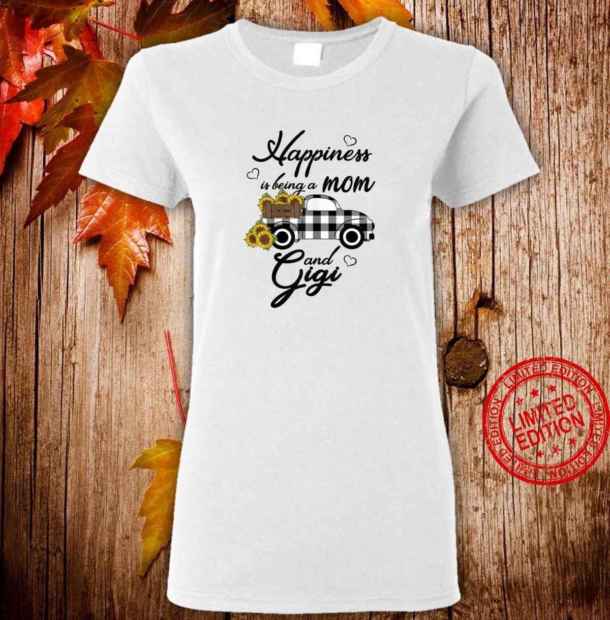 Womens Sunflower Grandma Shirt Happiness is being a Mom and Gigi Shirt ladies tee
